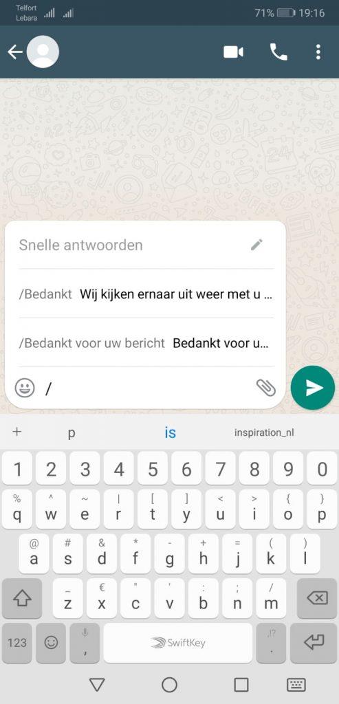 Snelle antwoorden - Whatsapp Business