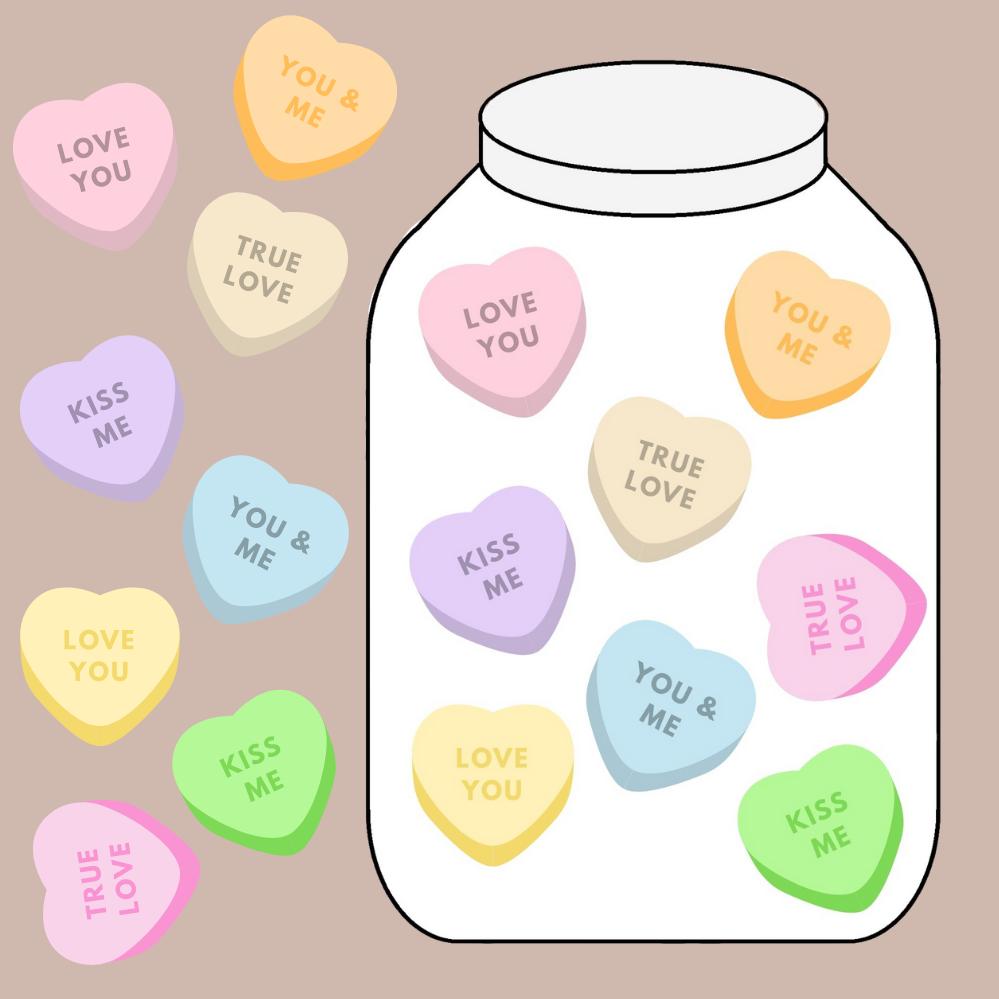 De Valentijns snoep pot